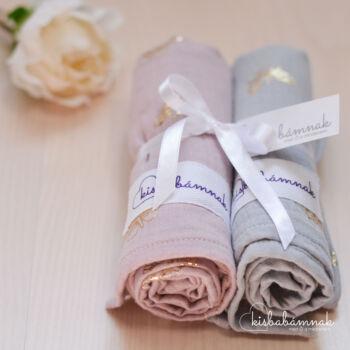 Aranypillangós rózsaszín-szürke Prémium textil pelenka (2 db)