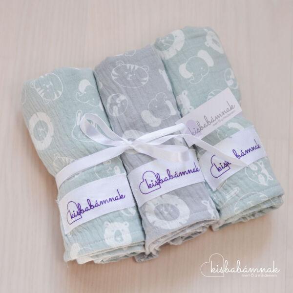 Menta-Szürke Prémium textil pelenka (3 db)